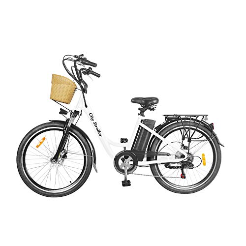 NAKTO 26' Adult Electric Bicycle City Sporting Shimano 6-Speed Ebike with Removable 36V/12A Lithium Battery for Women Men (City Stroller)