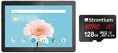 Lenovo Tab M10 HD (2GB, 32GB, WiFi) Slate Black + Strontium Nitro A1 128GB Micro SDXC Memory Card 100MB/s A1 UHS-I U3 Class 10 with High Speed Adapter