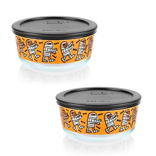 Pyrex (2) 7201 4 Cup Mummy Design Glass Bowls & (2) 7201-PC 4 Cup Black Plastic Lids
