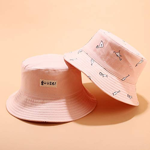 Sombrero de algodón con impresión de doble cara, sombrero de pescador, sombrero de viaje al aire libre, sombrero de pescador para hombres y mujeres (color: rosa, tamaño: normal)