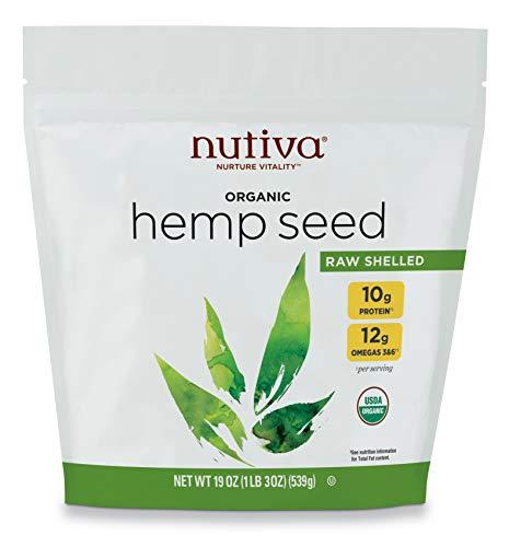 Nutiva Organic Raw Shelled Hempseed from non-GMO, Sustainably Framed Canadian Hemp, 19 Ounce