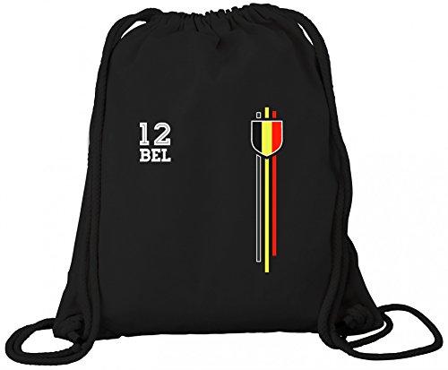 Belgium Belgique World Cup Fussball WM Fanfest Gruppen Premium Bio Baumwoll Turnbeutel Rucksack Stanley Stella Streifen Trikot Belgien, Größe: onesize,Black