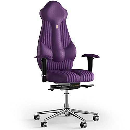KULIK SYSTEM Imperial - Silla de escritorio para ordenador con respaldo y cojín de asiento ergonómico patentado, silla de oficina ergonómica, tela cosida (Antara - Violeta)