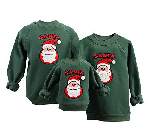 Weihnachtspullover Familie Xmas Pullover Weihnachten Damen Ugly Weihnachtspulli Herren Kinder Sweatshirt Weihnachts Pullis Christmas Sweater Santa Weihnachtspullis Jungen Mädchen Pärchen Grün 1-2 T