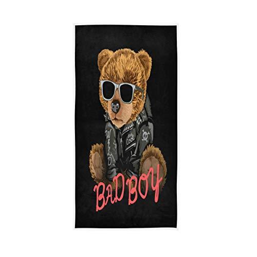 MNSRUU - Toalla de mano de oso con gafas de sol, algodón, 30 x 15 pulgadas, para decoración de baño