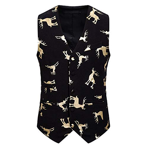 PUJIANGxian Heren Werkkleding Lagen Kerstmis Nieuwjaar Herten Bronzen Slim Vest Vest Geometrische Strip Tshirt Kerstmis