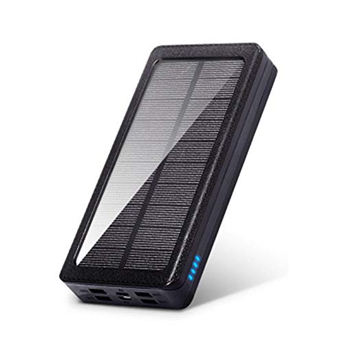 Waterproof Solar Power Bank 50000mah, Qi Wireless Fast Charger, Portable External Battery, Compatible with Iphone, Samsung, Huawei, Tablet and Other Usb Devices (Capacity : 20000mah, Color : Black)
