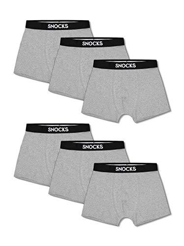 Snocks  Herren Boxershorts (6er Pack) Ideale Passform Durch 95% Baumwolle (Ohne Kratzenden Zettel), 6x Grau, XXL