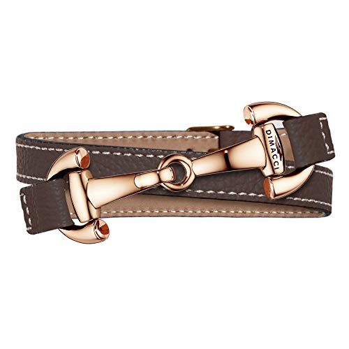 DIMACCI Trensen-Armband Kalbsleder | Alba-Kollektion in Mokka Roségold-Optik aus Edelstahl | Schmuck für Reiter-Damen in Geschenk-Box (Mokka, Edelstahl Rose-vergoldet)