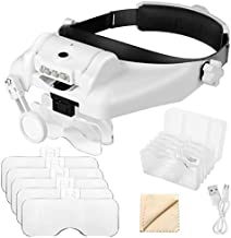 1X to 14X Headband Magnifier with LED Light, Handsfree Head Mount Magnifying Glass Visor Headset Loupe Tools for Professional Jewelry Close Work Sewing Crafts Reading Repair