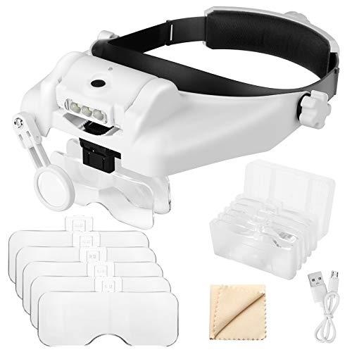 1 x bis 14 x Kopfbandlupe mit LED-Licht, Freisprecheinrichtung, Lupe, Headset, Lupe, Werkzeug für professionelle Schmuck, Näharbeiten, Basteln, Lesen, Reparatur