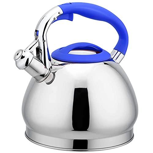 Zhicaikeji Hervidor Silbido Tetera de té de silbido de silbido de Acero Inoxidable 3L Tetera de Mango Anti-escaldado doméstico para Acampar (Color : Azul, Size : One Size)