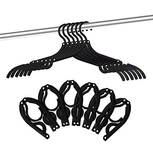 12 PCS Travel Hangers - Portable Folding Clothes Hangers Travel Accessories Foldable Clothes Drying Rack for Travel Black