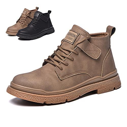 Zapatos de Trabajo Hombres Soldador Soldadura Botas de Seguridad con Tope de Acero y Kevlar, Zapatos de Trabajo Ligero/Calzado Protector de construcción de construcción (Color : Khaki, Size : 47)