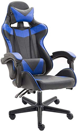 Silla de Oficina Silla giratoria de Juegos, Silla ergonómica de la Oficina giratoria de Cuero sintética con reposabrazos Ajustables y Respaldo (Color : Blue)