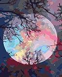 YUHHGFK Pintar por Numeros Árbol de la luz de la Luna Pintura al óleo de Bricolaje con Pinceles y Pinturas - para Adultos, niños y Principiantes Decoración del hogar - 40 X 50 cm (Sin Marco)