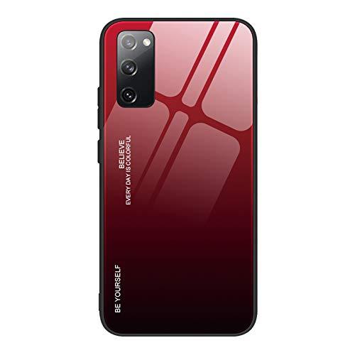 TANYO Hülle Geeignet für Samsung Galaxy S20 FE (Fan Edition), Farbverlauf Tempered Glass Stoßfest Back Hülle, mit Weichem TPU Silikon Rahmen Shock Absorption Handyhülle (5)