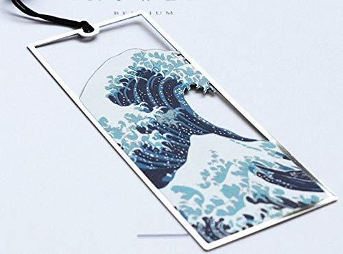 Segnalibro in metallo, segnalibro, regali giapponesi, regalo per gli amanti dei libri, regalo Hokusai, segnalibri, grande onde, accessori per libri, vermi Great Wave