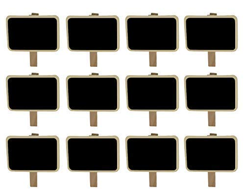 Miraclekoo 12 Mini Retangle Chalkboard Blackboard with Wooden Clip Message Board Signs and Labels Clips