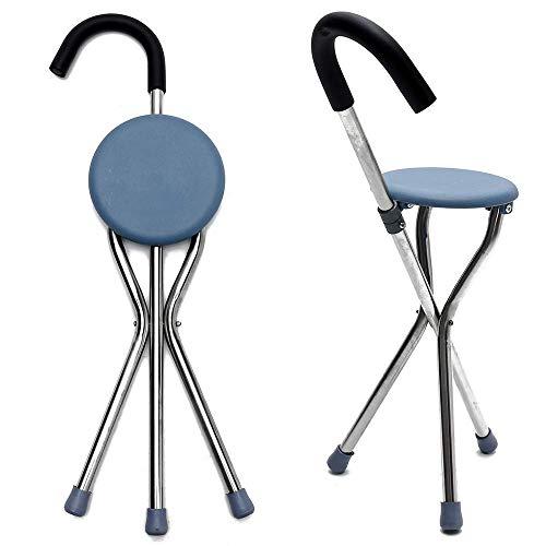 Bastón para caminar plegable, portátil y ligero, muleta para caminar con asiento de plástico Bastón para caminar de acero inoxidable, trípodes antideslizantes, ayuda para la movilidad de equilibrio