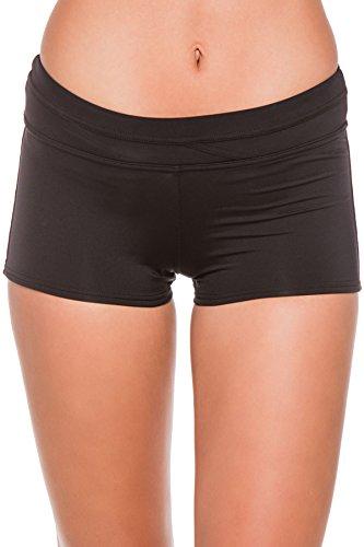 JAG Women's Solid Boyleg Swim Short Swimsuit Bikini Bottom, Black, L