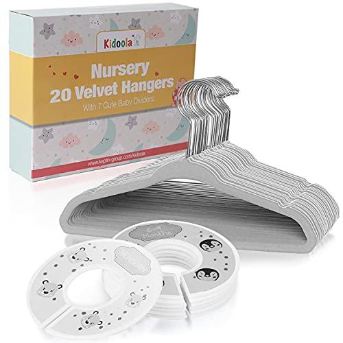 Perchas de bebé unisex con separadores de armario – 20 perchas de terciopelo para niños + 7 divisores de ropa de bebé a niño – Accesorios para niño o niña