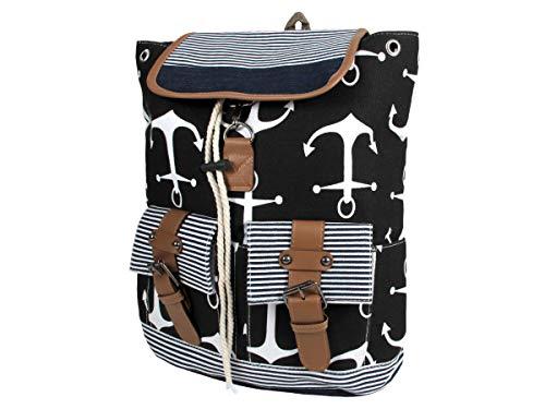 Rucksack Damen Stoff Vintage Stil Retro Freizeitrucksack Stoffrucksack von Alsino, wählen:RUCK-b024 Anker schwarz