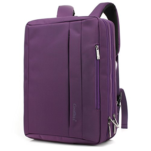 CoolBELL17,3 Zoll umwandelbar Laptop Tasche/Rucksack Messenger Bag Oxford Gewebe Umhängetasche Backpack Mehrzweck Aktentasche für Laptop/MacBook/Tablet/Herren/Damen(Violett)