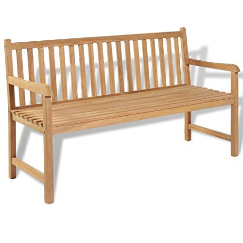 FZYHFA Banc d'extérieur en bois de teck 150 x 62,5 x 90 cm, design simple et pratique, stable et durable, pour extérieur, jardin, banc de jardin