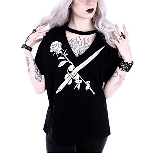 Camiseta gótica para Mujer, de Manga Corta, con Cuello en V, Estilo Punk y Steampunk marrón Negro2 XXL