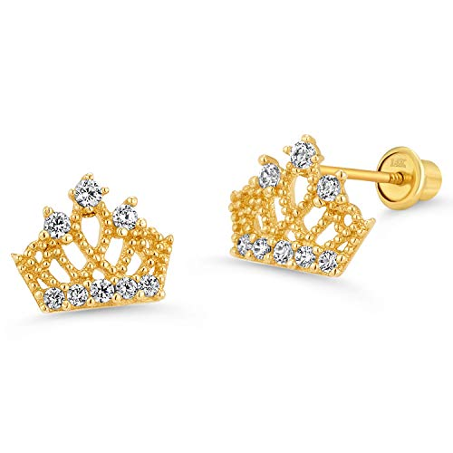 14K Yellow Gold Princess Crown Cubic Zirconia Stud Earrings by Lovearing