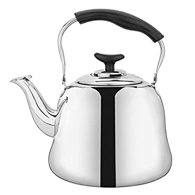 Yarlung 2 Liters Tea Kettle with Cool Grip Ergonomic Handle, Stainless Steel Stovetop Whistling Teakettle Teapot with Tea Strainer for Home, Dorm, Condo or Apartment, Thin Base, Mirror Finish