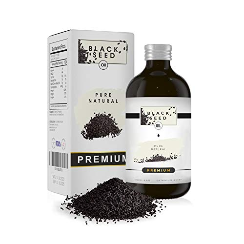 Black Seed Oil Cold Pressed - 200 ml - 10X Potency with 4.8% TQ & Omega 3 6 9 - High Strength Pure Virgin Oil in a Glass Bottle - Extract for Hair, Immune System Booster & Digestion