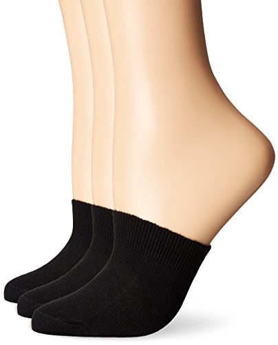 HUE Women's Cotton Toe Topper, 3 Pack, black, One Size