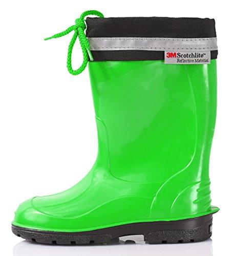 LEMIGO KIM rubberlaarzen voor kinderen, regenlaarzen, laarzen, regenschoenen, kleur: groen, maat: 28