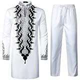 LucMaton Men's African 2 Piece Set Long Sleeve Gold Print Dashiki and Pants Outfit Traditional Suit White Black XX-Large