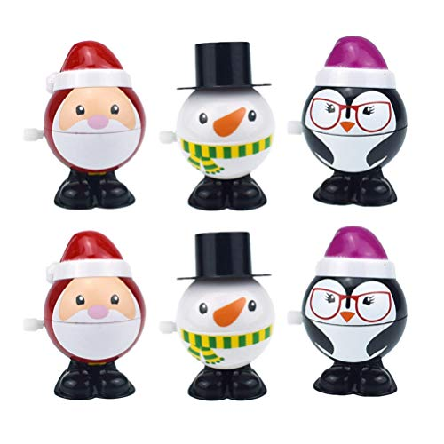 Toyvian 6 Stücke Aufziehspielzeug Schneemann Pinguin Weihnachtsmann Figur Aufziehfigur Weihnachten Deko Figuren Uhrwerk Spielzeug Baby Kinder