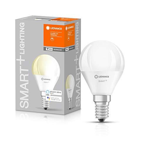 LEDVANCE Smarte LED-Lampe mit WiFi Technologie, Sockel E14, Dimmbar, Warmweiß (2700 K), ersetzt Glühlampen mit 40 W, SMART+ WiFi Mini Bulb Dimmable, 1er-Pack