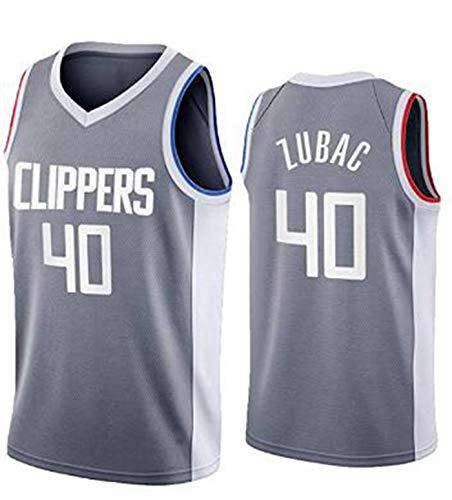 FEZBD Zubac # 40 Camiseta De Baloncesto para Hombre, Clippers Chaleco Sin Mangas Equipo Training Uniform Camiseta Sin Mangas Chaleco,Gris,XXL185~190cm