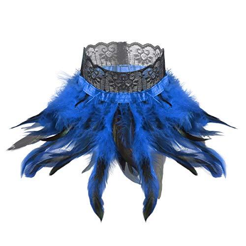 TiaoBug Gargantilla Victoriana Gtica Mujer Plumas Disfraz Medieval Mujer Carnaval Halloween Mantn Pluma Fiesta Choker Collar Encaje Negras Azul Una talla