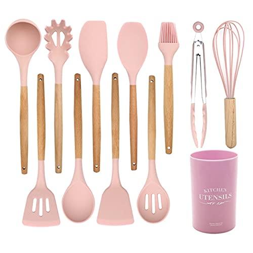 Conjunto de utensilios de cocina- Utensilios de cocina de silicona rosa Utensilios de cocción antiadherente Set Spatula Turners Pinzas batidor cuchara cuchara con mango de madera Juego de herramientas
