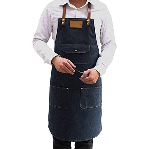 Jiyaru Tablier Homme Tablier Cuisine en Denim Réglable Tablier Travail 78x60cm