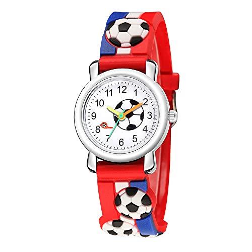CXJC Reloj de Cuarzo de 4-13 años de Edad y Femenino de la Escuela Secundaria y de la Escuela Secundaria, Reloj de Deportes de patrón de fútbol 3D (Color : Azul)