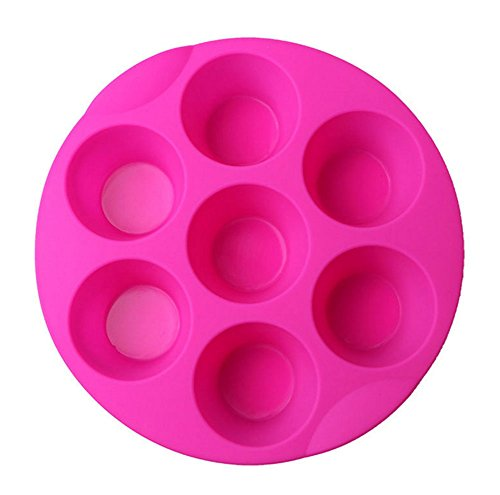 Kaqkiasiog 7 Cavity Egg Bite Mold Silicone Muffin Pudding Mould Bakeware Round Cup Cake Pan Baking Pancake Tray Muffin Tins (Random Color)