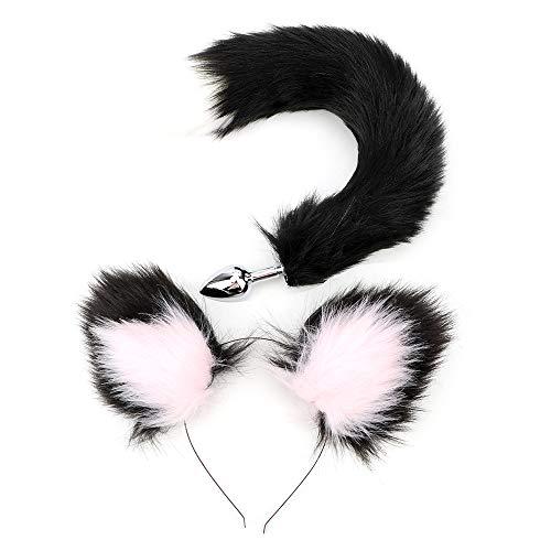CuiGuoPing Fox Tail Type Metall Butt Plug, mit Katzenohrenform Stirnbänder, für Liebhaber Erotic Cosplaying, Metal und Fur (Schwarz + Weiß)