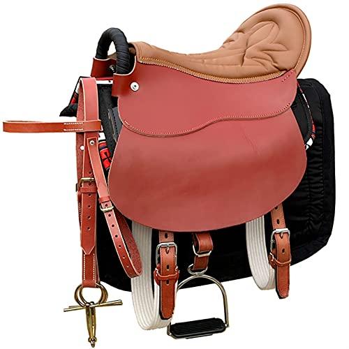 XHZDWJ Reforzado puro cuero de vaca suave asiento turístico silla de montar de cuero conjunto completo suministros ecuestre silla de montar caballo