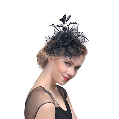 Fashband Bridal Shower Fascinator Cappello Fiore Maglie di piume su una fascia e una clip Cocktail Tea Party Copricapo Derby Kentucky Razze Cerimonia Matrimonio Cappello per ragazze e donne (nero)