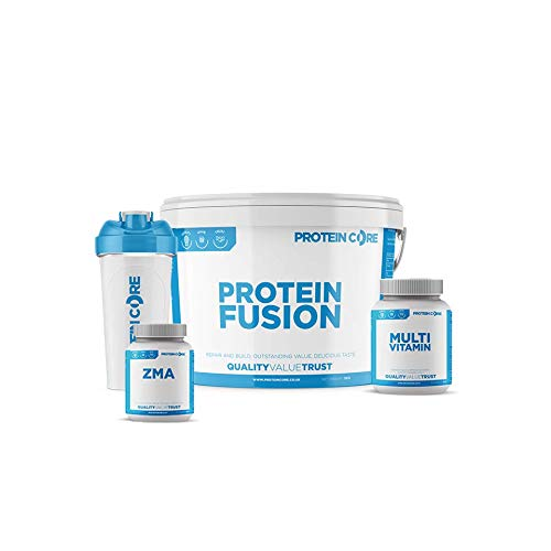 Protein Fusion Bundle - Free Vitamin Tablets + Free ZMA Tabs + Shaker - Best Value Protein Powder - 30G Protein Per Serving - Build Muscle + Strength - Protein Core (Banana, 5KG)