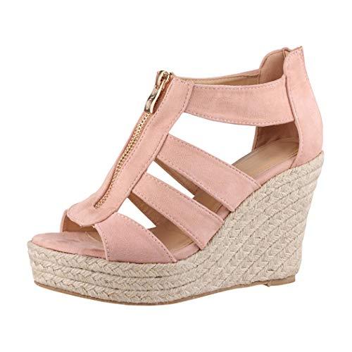 Elara Jumex Damen Sandalette Keilabsatz Plateau Chunkyrayan TH82221-Pink-37