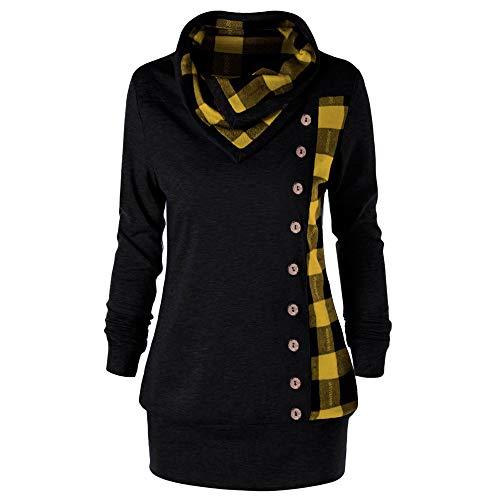 VEMOW Herbst Winter Elegante Damen Frauen Langarm Hoodies mit Knopf Gedruckt Lässig Täglichen Sport Outdoors Hoodies Herbst Sweatshirt(X1-Gelb, 52 DE / 5XL CN)